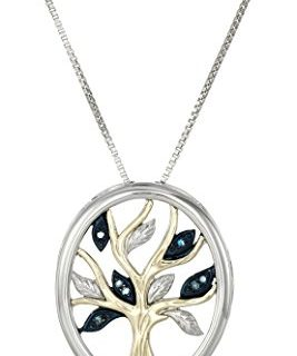 Sterling Silver and 14k Yellow Gold Blue Diamond Accent Family Tree  Pendant Necklace, 18″