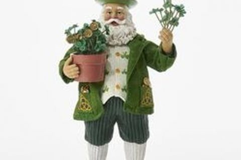 Kurt Adler 11″ Fabriche' Musical Irish Santa