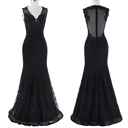1551e2dfd Black lace floor-length Sleeveless Evening Dress, it will belongs you! V- neck, see-through back, with exquisite lace crochet embellished.