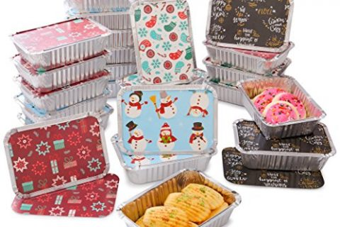 Christmas Treat Foil Containers, Set of 24 24 – 4 Holiday Designs, Snowman Festive Cover Print, Aluminum Food Containers For Gifts Of Homemade Treats, Secure Closing To Keep Fresh