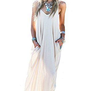 MIXMAX Women's Strappy Casual Loose Boho Chiffon Pocket Long Maxi Dress