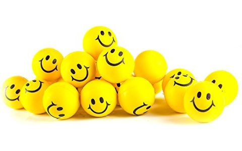 Happy Smiley Face Stress Balls Bulk Pack of 24 Relaxable 2″ Stress Relief Smile Squeeze Balls Fun Toys Christmas Stocking Stuffer – Why Worry? Be Happy! Neon Yellow Smile Funny Face Stress Ball