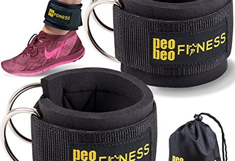 PeoBeo Fitness Ankle Straps for Cable Machines and Resistance Bands for Men and Women- Neoprene Padded Ankle Cuffs for Weight Lifting & Leg Gym Workout by Black Pair