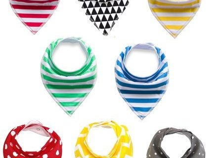 Baby Bandana Drool Bibs,DK FENG Unisex 8-Pack Baby Bibs, Organic Cotton ,Soft and Absorbent- for Boys and Girls Gift Set
