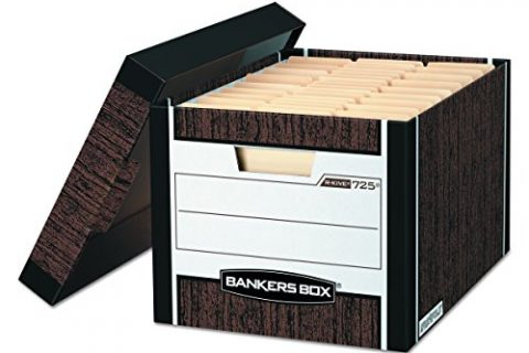 Bankers Box R-Kive Heavy-Duty Storage Boxes, Letter/Legal, Woodgrain, 12 Pack 00725