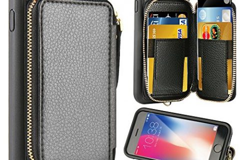 iPhone 8 Plus Wallet Case, iPhone 7 Plus Leather Case, ZVE iPhone 7 Plus Case with Credit Card Holder Slot and Zipper Wallet Money Pocket, Protective Case for Apple 7 Plus /8 Plus 5.5 inch – Black