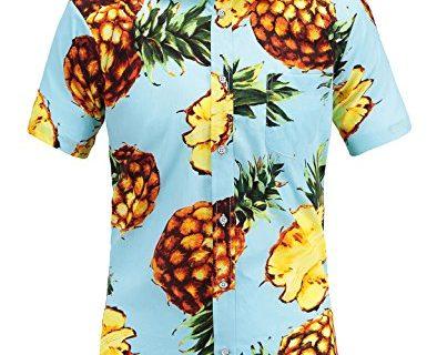 JEETOO Men's Pineapple Floral Short Sleeve Hawaiian Aloha Shirt