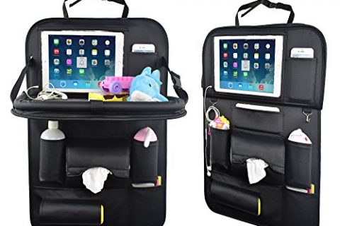 Car Back Seat Organizer with Table Tray for Baby PU Leather Foldable Dining Table Desk SUASI Back Seat Tablet Ipad Holder Tissue Storage Bag Pockets for Kids Travel1 Pack