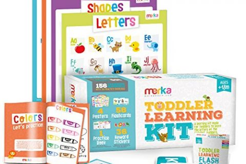 Learn Letters, Colors, Shapes and Numbers – merka Toddler Learning Kit includes 4 Posters, 58 Flashcards, 58 Practice Book Exercises and 36 Reward Stickers