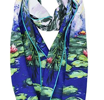 ELEGNA Women 100% Silk Art Collection Scarves Willow Tree and Water Lilies