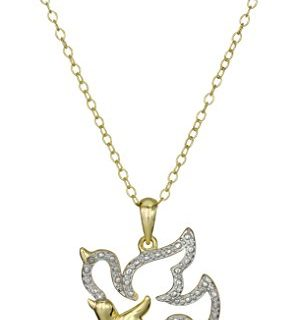 Gold-Plated Silver Animal with Baby Pendant Necklace, 18″