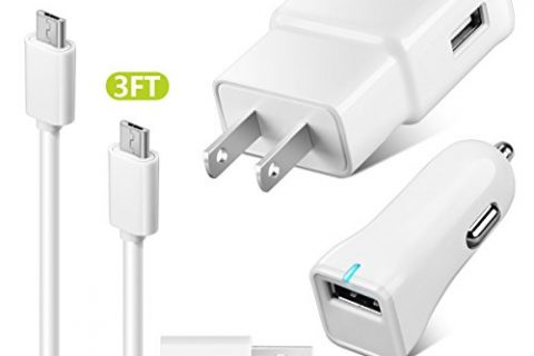 ZEUUE Adaptive Fast Charger Galaxy S7, Wall Charger Car Charger Kit QC2.0 with 4FT/3FT Micro USB Cable for S6/S6 plus, S4, S3/Galaxy Note 5, Note 4/Galaxy Tab Pro White Micro 4in1