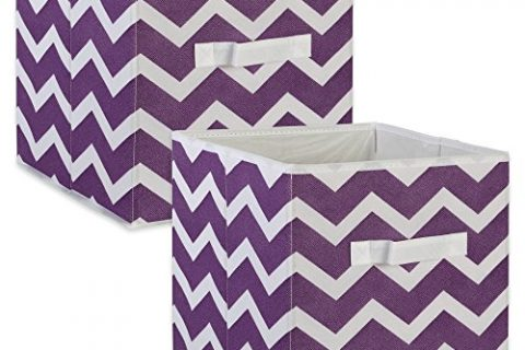 DII Fabric Storage Bins for Nursery, Offices, & Home Organization, Containers Are Made To Fit Standard Cube Organizers 11x11x11″ Chevron Eggplant – Set of 2