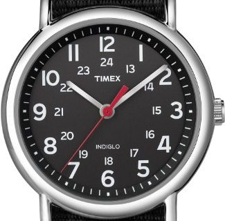 Timex Unisex T2N647 Weekender Black Nylon Slip-Thru Strap Watch