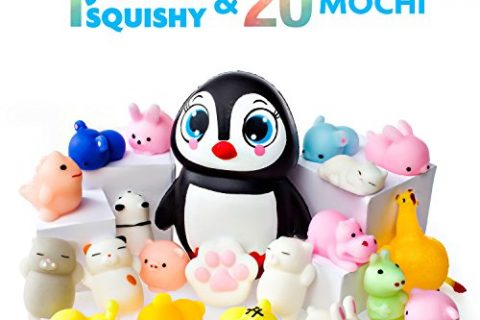 Mochi Squishy Toys – 20 Squishies Pack and 1 Jumbo Squishies Slow Rising Penguin Squishy- Mochi Squishy Cat, Panda Squishy, Mochi Animals – Kawaii Squishies Jumbo – Key Chain Strap Squishys