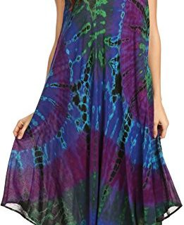 Sakkas 17009 – EULA Boho Sleeveless Tie Dye Long Tank Caftan Sundress/Beach Cover Up – OS – Purple