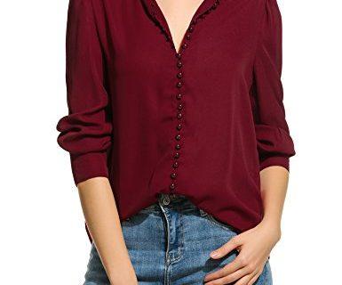 Zeagoo Women Long Sleeve Button Down Chiffon Blouse Shirt Solid Top