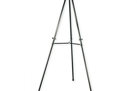 Quartet 56E Heavy-Duty Adjustable Telescoping Tripod Easel- 38″ expands to 66″ High, Aluminum Black