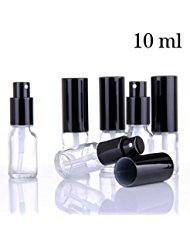 Small Clear Glass Spray Bottles for Aromatherapy Essential Oils – Refillable 0.35 oz Fine Mist Sprayers with black Tops, 6 PACK Set