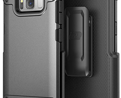 Galaxy S8 Tough Belt Case & Clip Encased R7 Series Premium 2-Layer Protection with Flexible TPU Inner and Hard Outer Cover for Samsung S8 Holster Included Metallic Grey
