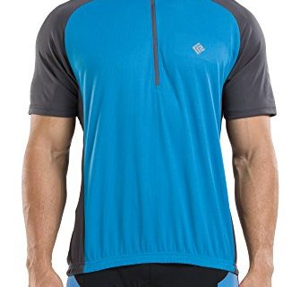 KORAMAN Men's Reflective Short Sleeve Cycling Jersey Quick-dry Breathable Biking Shirt Blue 2XL