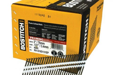 BOSTITCH RH-S10D131EP Round Head 3-Inch by .131-Inch by 21 Degree Plastic Collated Framing Nail 4,000 per Box