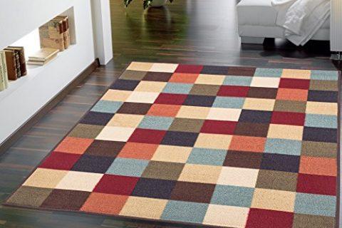 Ottomanson Ottohome Collection Contemporary Checkered Design Non-Skid Rubber Backing Modern Area Rug, 3'3″ X 5′, Multicolor