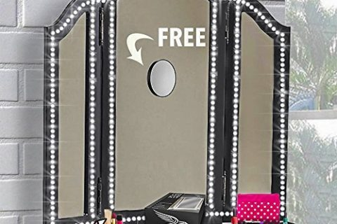 Led Vanity Mirror Lights Kit,13ft/4M 240 LEDs, FREE 10X Mirror, Make-up Vanity Light Strip for Vanity Makeup Table Set DIY Hollywood Style Mirror with Dimmer and Power Supply, Big Mirror not Included