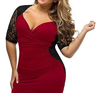 Lady Swain Women's V Neck Half Sleeve Ruched Lace Illusion Plus Size Bodycon Dresses XXXX-Large, Black Burgundy