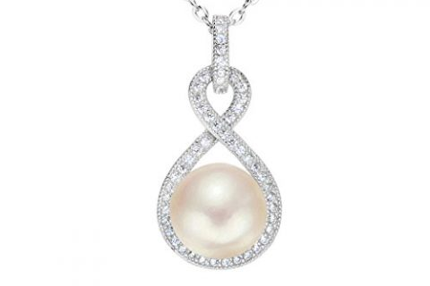 EleQueen 925 Sterling Silver CZ AAA Button Cream Freshwater Cultured Pearl Infinity Bridal Pendant Necklace