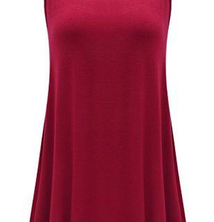 JollieLovin Womens Sleeveless Comfy Plus Size Tunic Tank Top with Flare Hem – Wine Red, XL 1X