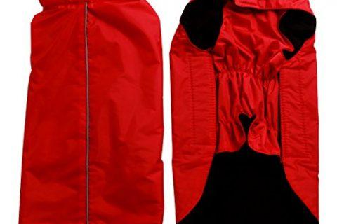JoyDaog Fleece Lined Warm Dog Jacket for Winter Outdoor Waterproof Reflective Dog Coat Red XXL