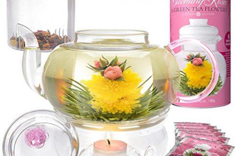34 oz Borosilicate Glass Teapot, 12 Rose Blooming Tea Flowers, Glass Loose Tea Infuser, Teapot Warmer – Stovetop, Microwave Safe – Teabloom Pretty in Pink Rose Tea Gift Set – Thermal Shock Resistant