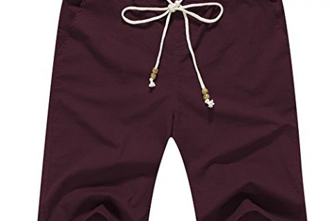 Janmid Men's Linen Casual Classic Fit Short M, Wine Red