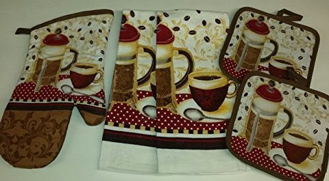Coffee Theme Kitchen Linen Set 2041 Includes: one oven mitts, two dish towels, and two pot holders