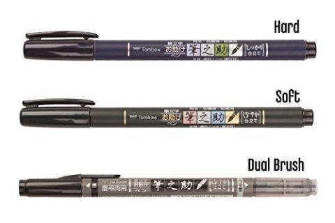 Tombow Fudenosuke Brush Pen 3 Type Set, Hard GCD-111, Soft GCD-112, Dual BrushGCD-121, Original 5 Colors Sticky Notes