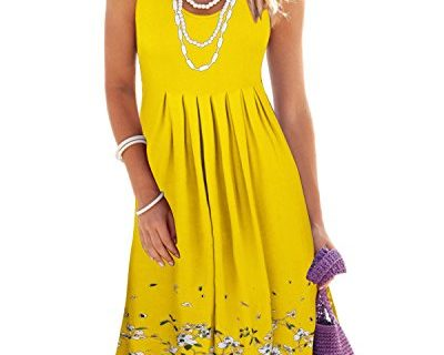 KILIG Summer Casual Loose Print Pleated Sleeveless Vest DressesYellow, L