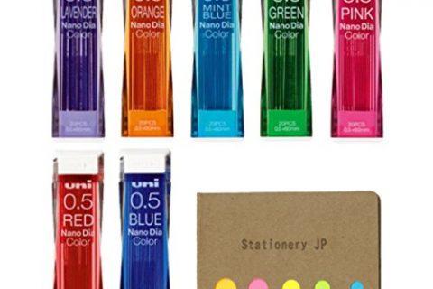 Uni NanoDia Color Mechanical Pencil Leads, 0.5mm, 7 Colors, total 140 Leads, Sticky Notes Value Set