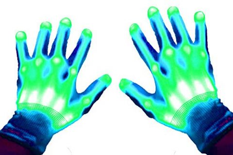 GlowCity Light Up LED Skeleton Hand Gloves Green
