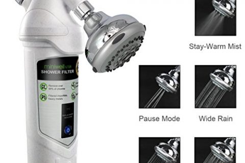 Universal Shower Filter miniwell L720-H, carbon filter with adjustable shower head and lifetime indicator, remove 99% chlorine and water impurifies