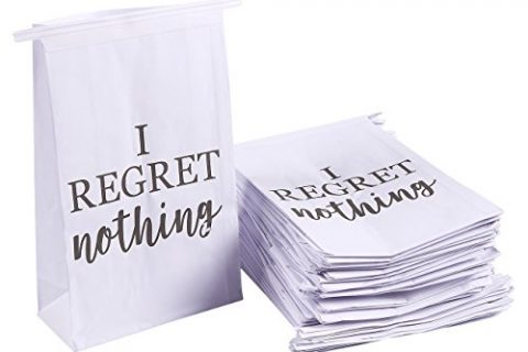 Vomit Bags – Self-Sealing I Regret Nothing, 6 x 2.6 x 9.7 Inches – 50 Pack Disposable Paper Barf Bags