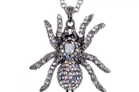 Alilang Silvery Tone Iridescent Clear Rhinestones Spider Tarantula Pendant Necklace