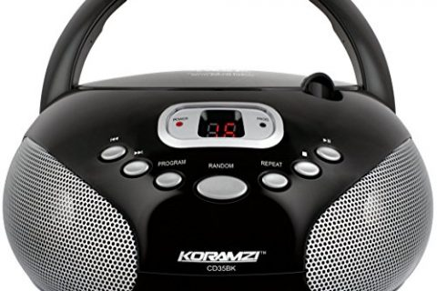 Koramzi Portable CD Boombox Stereo Sound System with Top-Loading CD Player, AM/FM Radio, and Aux Line-In- CD35Black