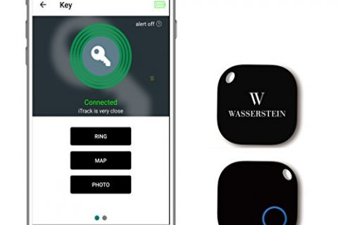 Bluetooth Key Finder, GPS Smartphone Tracker, Smart Anti-Lost Alarm, Remote Camera Controller for iOS & Android Devices by Wasserstein 1, Black