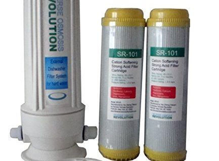 External Dishwasher Softener for hard water. Comes with 2 of 10″x2.5″ Resin Softener Cartridges. 3/8″ thread or 1/2″ thread connection