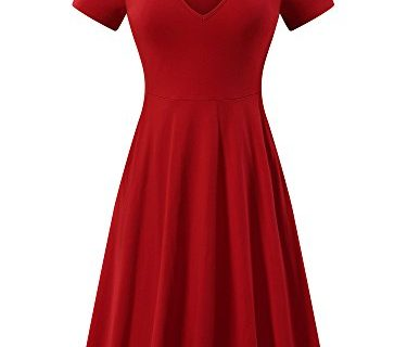 FENSACE Summer Dress, Womens Casual Flare Midi Cotton Work Dress Medium Red