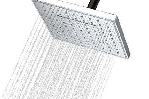 AKDY 8″ Square Rainfall Style Bathroom ABS Adjustable Ultra Thin Shower Head