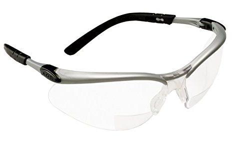 3M  Reader +2.0 Diopter Safety Glasses, Silver/Black Frame, Clear Lens