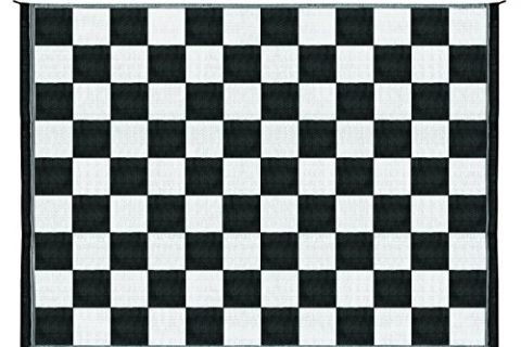 Camco Large Reversible Outdoor Patio Mat – Mold and Mildew Resistant, Easy to Clean, Perfect for Picnics, Cookouts, Camping, and The Beach 9′ x 12′, B/W Checkered  Design 42827