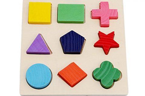 HS Baby Kids Wooden Preschool Shape Puzzle Geometry Block Puzzle Montessori Toy Pattern 1